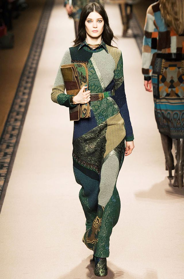 We saw several patchwork pieces on the F/W 15 runways, and this Etro gown was one of our favorites!