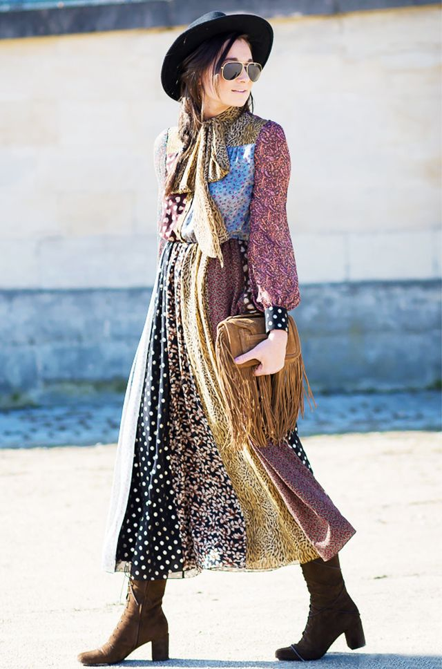 Channel your inner lady of the canyon with a patchwork midi dress, fringed bag, and suede boots.