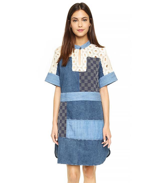 Sea Patchwork Lace Dress