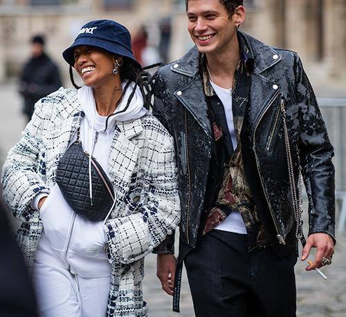 Chanel bags: waist bag worn by model