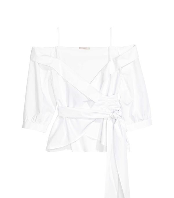 Weekend Style Ideas: H&M Wrapover Cotton Blouse