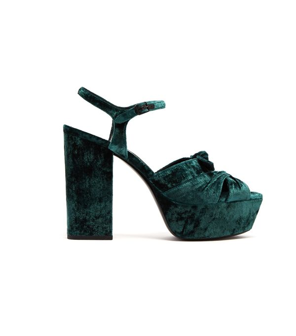 Weekend Style Ideas: Saint Laurent Farrah Velvet Platform Sandals
