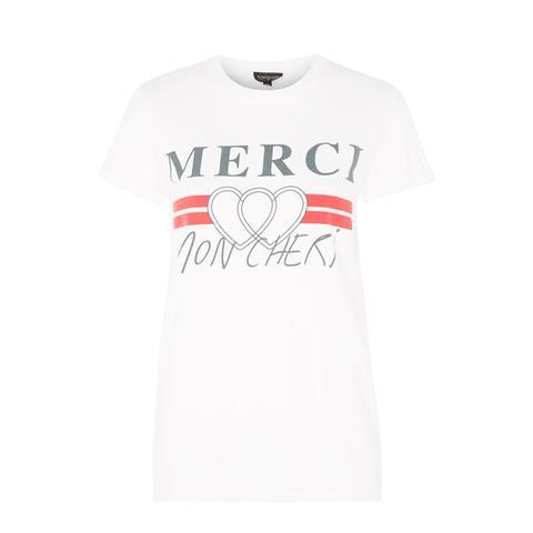 'Merci' Motif T-Shirt