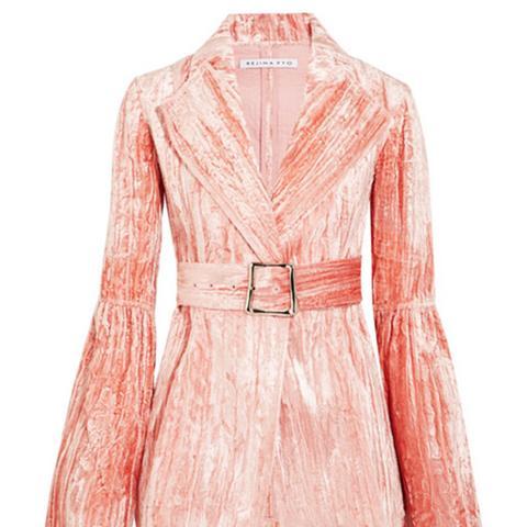 Claire Belted Crushed-Velvet Jacket