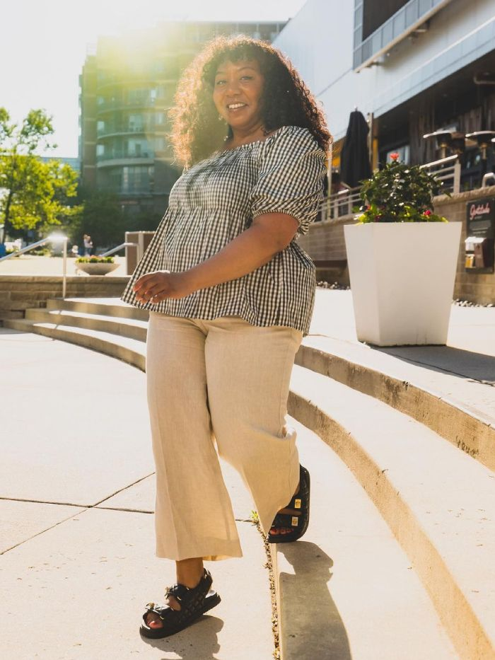 how to wear gingham: nicole ocran wearing a gingham top