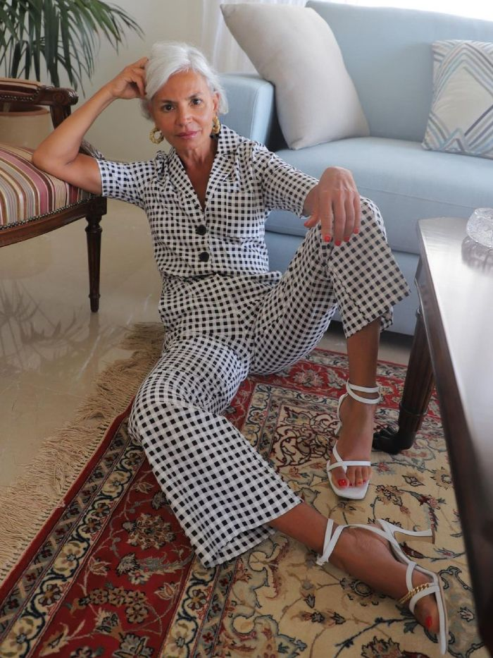 how to wear gingham: grece ghannem wearing a gingham suit
