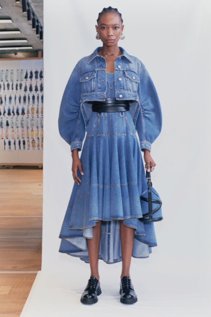 best denim dresses: Alexander McQueen spring 2021