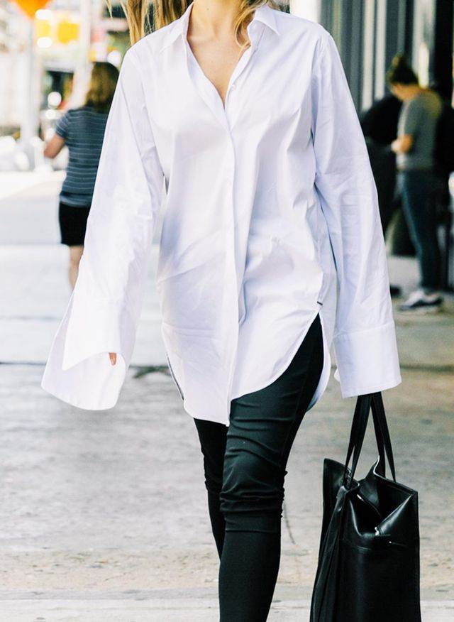 Editors job interview outfits: Oversized white shirt