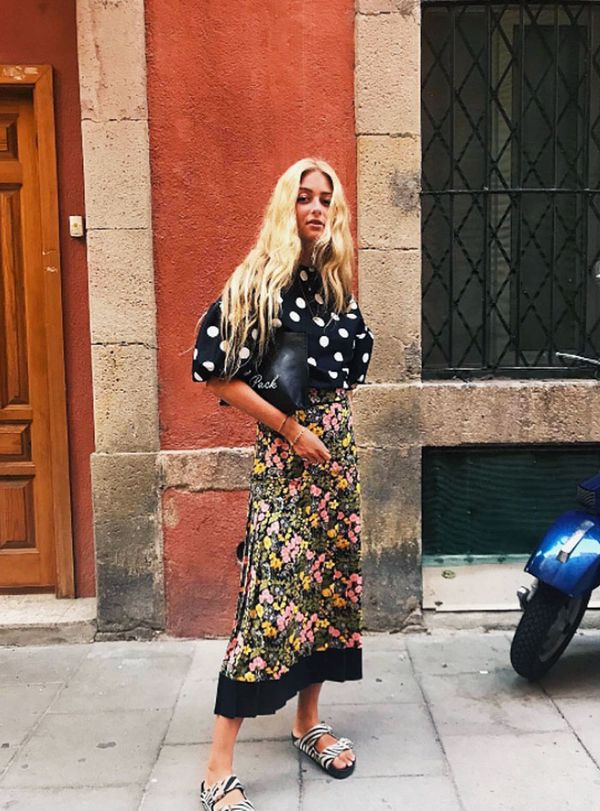 Summer outfit ideas: Emili Sindlev wearing polka dots and florals