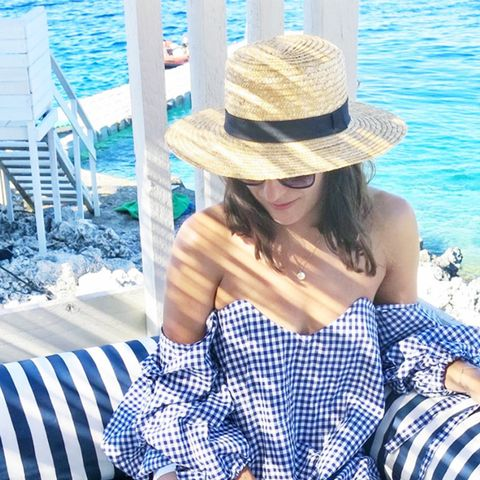 Beach outfit ideas: Katherine Ormerod in gingham