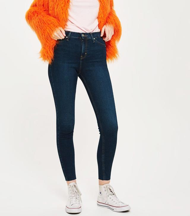Topshop MOTO Indigo Raw Hem Jamie Jeans