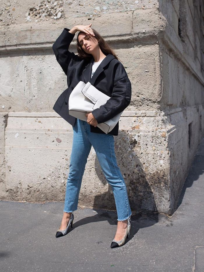 Best Skinny Jeans: Erica Boldrin wearing raw-hem skinny jeans with pumps