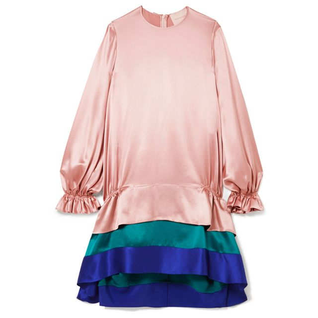 what to wear to an engagement party: roksanda colour block ruffle dress