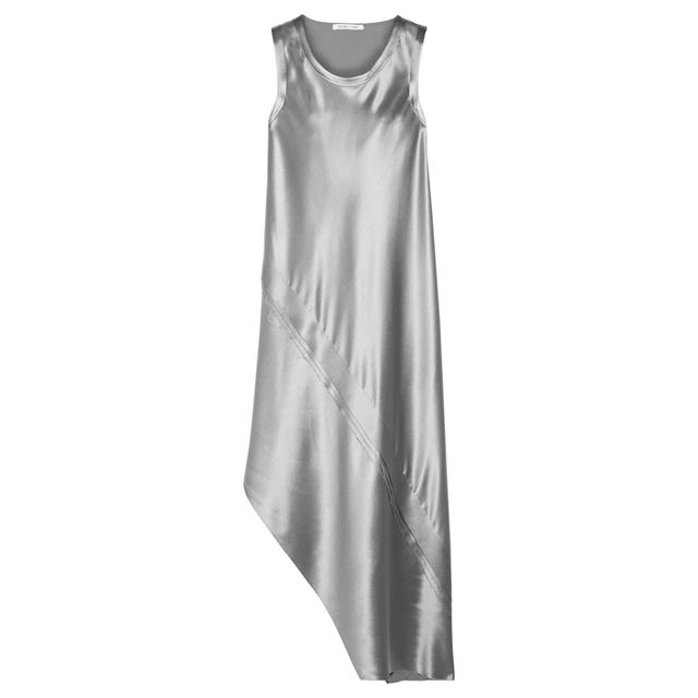 what to wear to an engagement party: helmut lang silver silk dress
