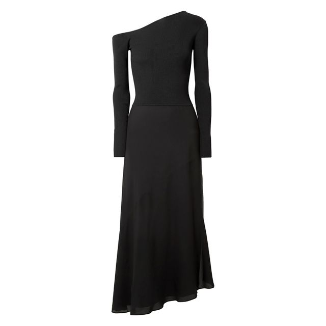 what to wear to an engagement party: theory black midi dress with sleeves