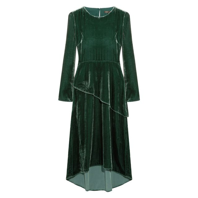 what to wear to an engagement party: maje green velvet midi dress