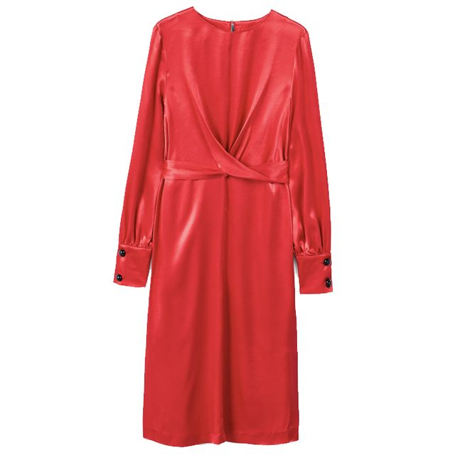 what to wear to an engagement party: mango red wrap dress