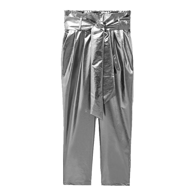 what to wear to an engagement party: mango silver trousers