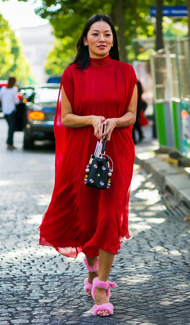 what to wear to an engagement party: red midi dress