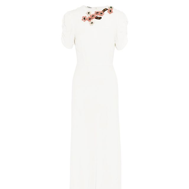 what to wear to engagement party: miu miu white midi dress