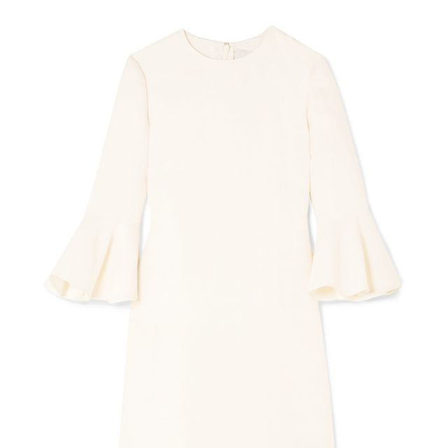 what to wear to engagement party: valentino white Wool and silk-blend crepe mini dress