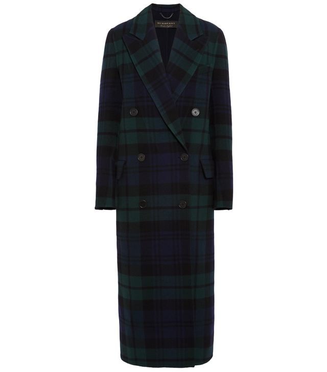 celebrity slimming style types: Burberry Double-Breasted Tartan Wool and Cashmere-Blend Coat