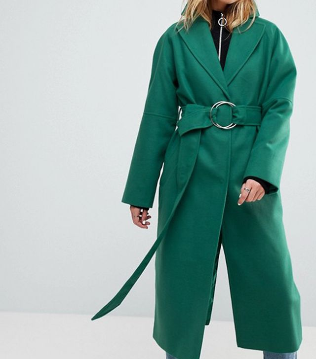 celebrity slimming style types: ASOS Green D Ring Belted Long Coat