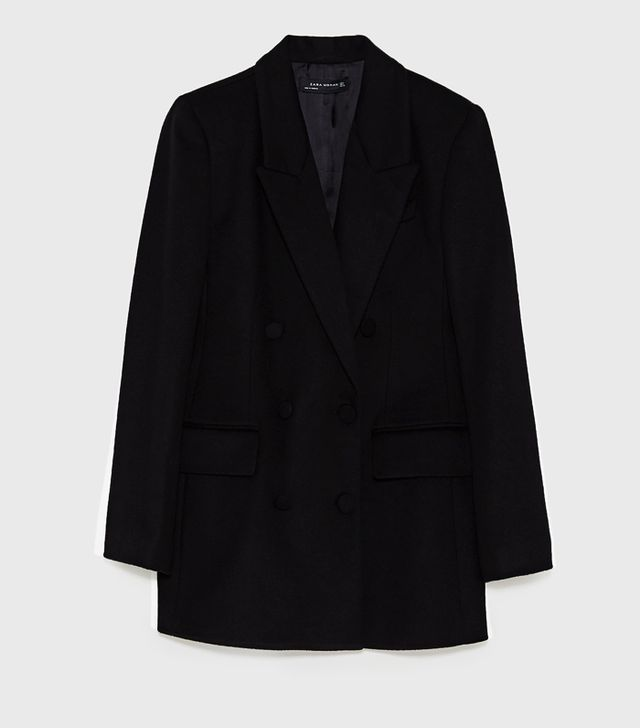 celebrity slimming style types: Zara Short Double-Breasted Coat