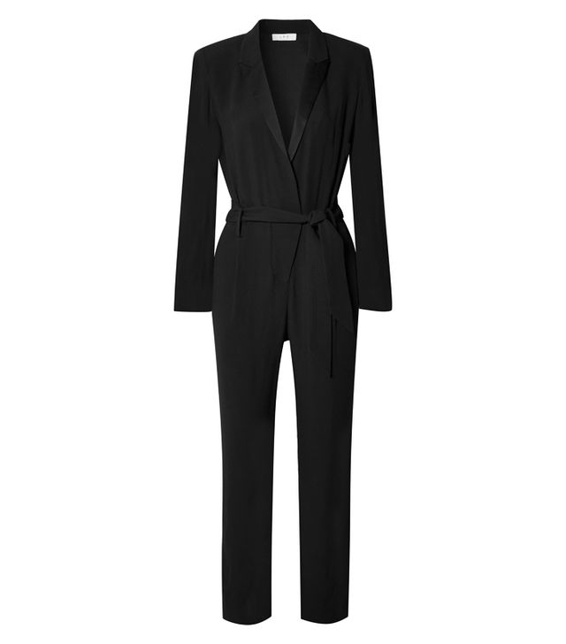celebrity slimming style types: IRO Jesalo Belted Crepe Jumpsuit