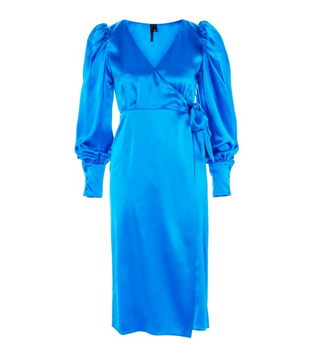 celebrity slimming style types: Topshop Puff Sleeve Wrap Dress by Boutique