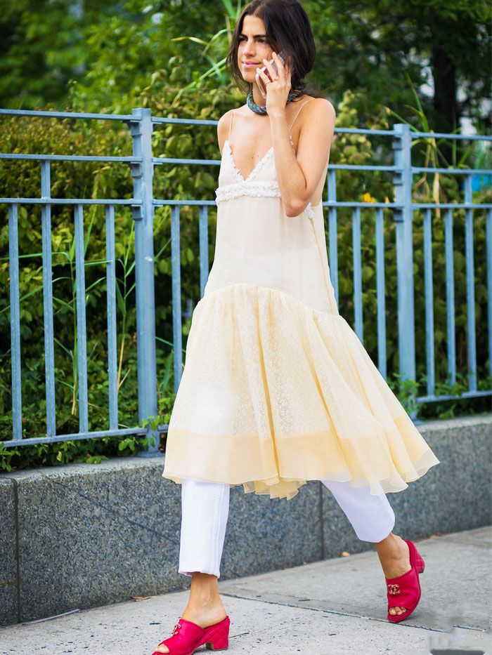 Leandra Medine wearing a sheer dress