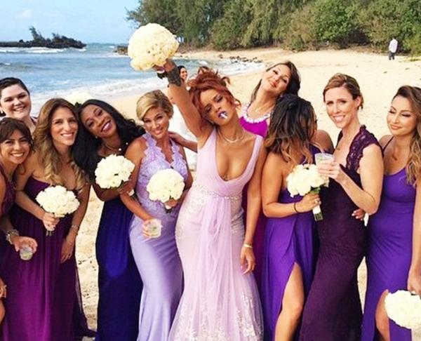 Celebrity bridesmaids dresses: Rihanna