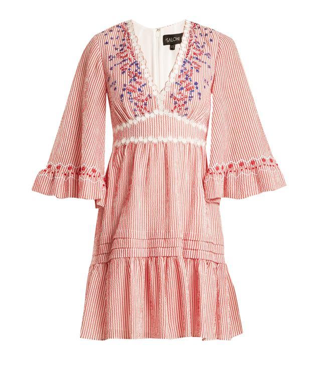 Best dress for my body type: Saloni June Striped-Seersucker Dress