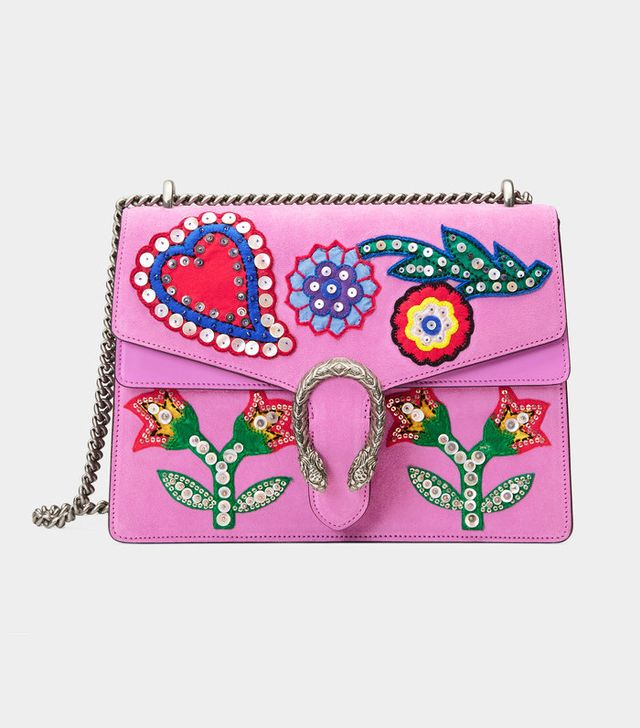 Gucci Dionysus Embroidered Suede Shoulder Bag
