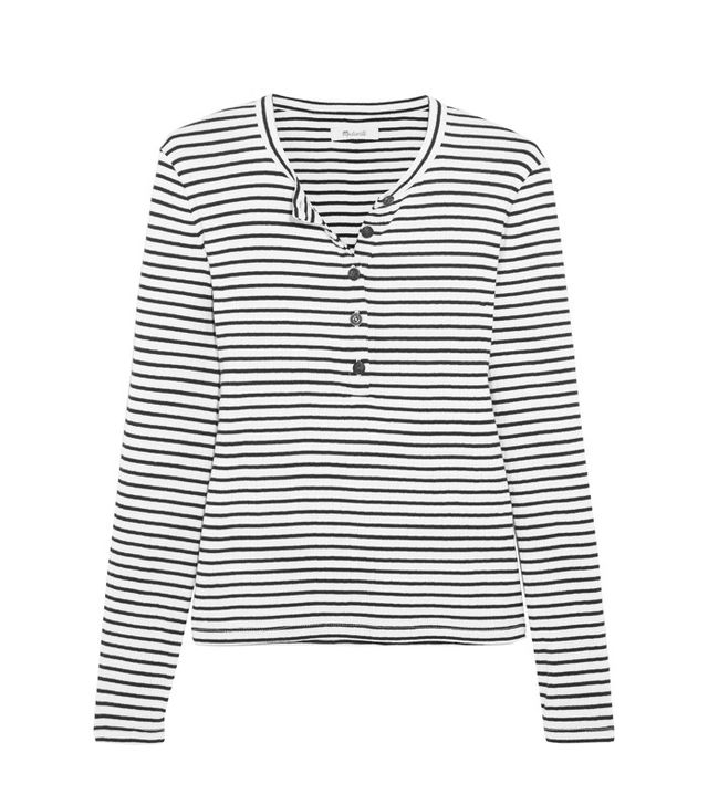 Madewell Mandy Striped Ribbed Cotton Top