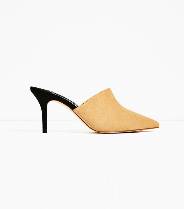 Zara Leather Backless High Heel Shoes