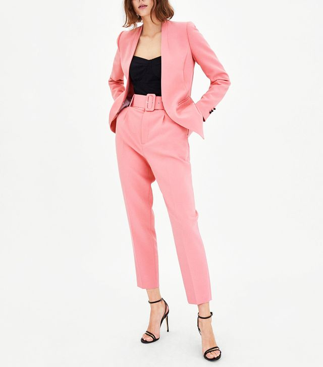 valentine's day outfits: Zara Crepe Blazer and Trousers with Belt