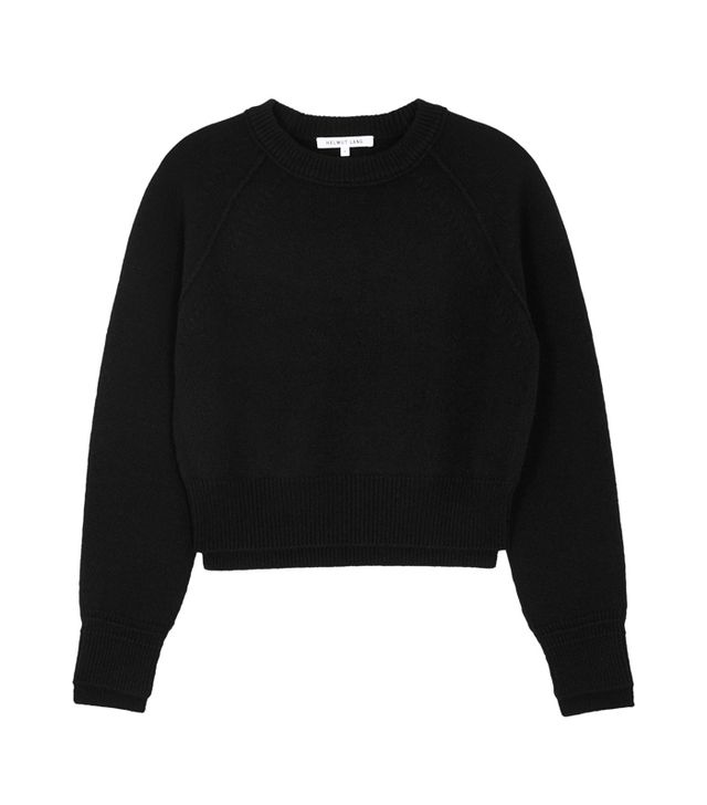 valentine's day outfits: Helmut Lang Black Cropped Cashmere Jumper