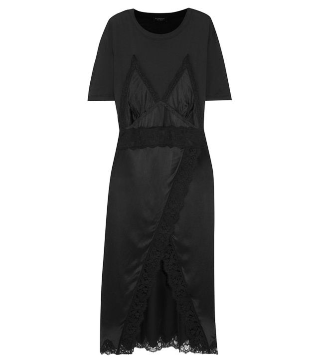 valentine's day outfits: Burberry Lace-Trimmed Silk-Satin and Cotton-Jersey Midi Dress