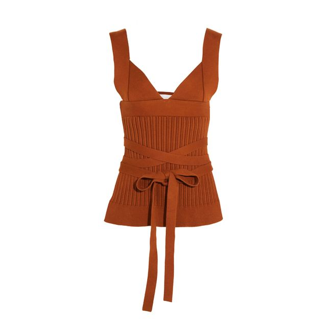 Colours that look good with brown: Victoria Beckham Open-Back Ribbed-Knit Stretch-Cotton Wrap Top