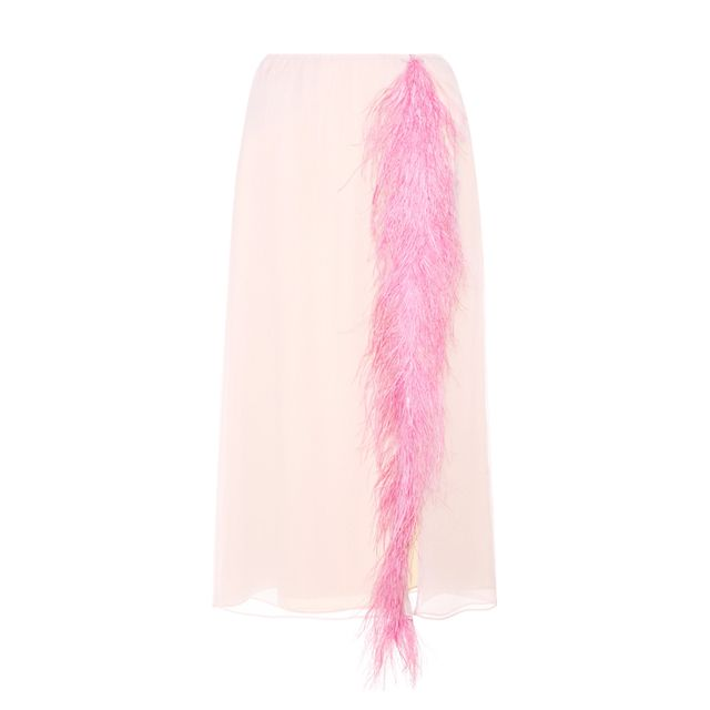 Colours that look good with brown: Prada Feather-Trimmed Silk Skirt
