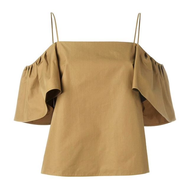 Colours that look good with brown: Fendi Off-Shoulder Blouse
