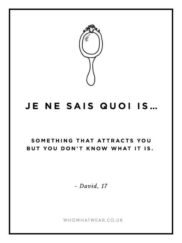 je ne sais quoi: something that attracts you but you don't know what it is