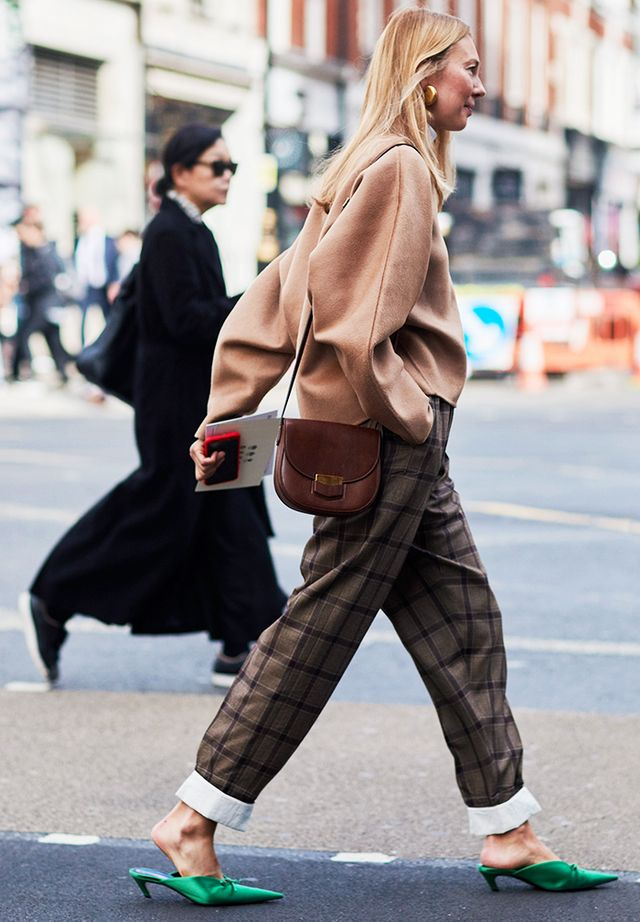 Simple Style Rules: Roberta Benteler in checked trousers and green Balenciaga shoes