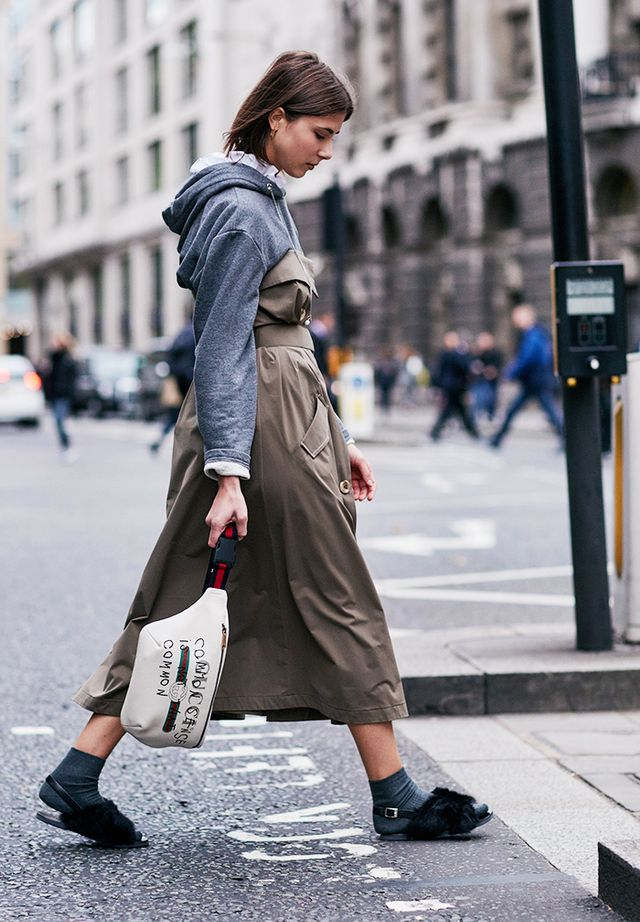 Simple Style Rules: woman wearing hoodie, dress, socks with sandals