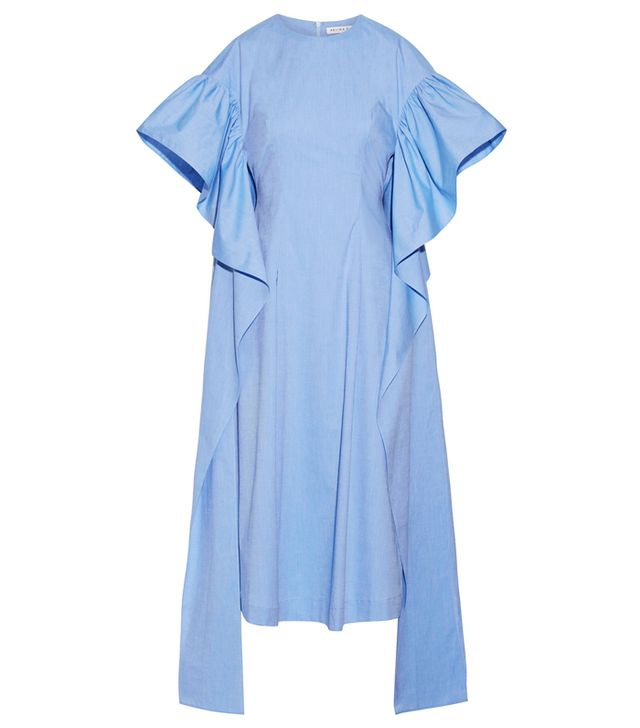 Simple Style Rules: Rejina Pyo Grace Ruffled Cotton-Chambray Midi Dress