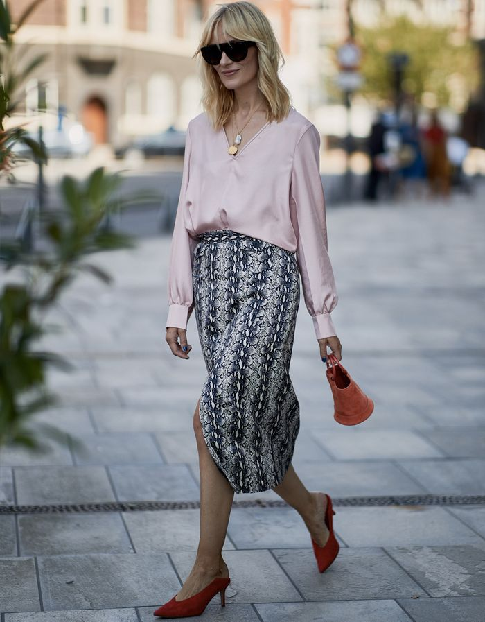 Colours that suit blondes: Marie Hindkaer wearing a pale pink shirt