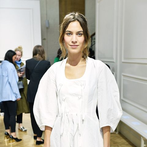 Colours That Suit Brunettes: Alexa Chung in a white dress