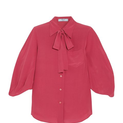 Pussy-Bow Silk Crepe de Chine Blouse