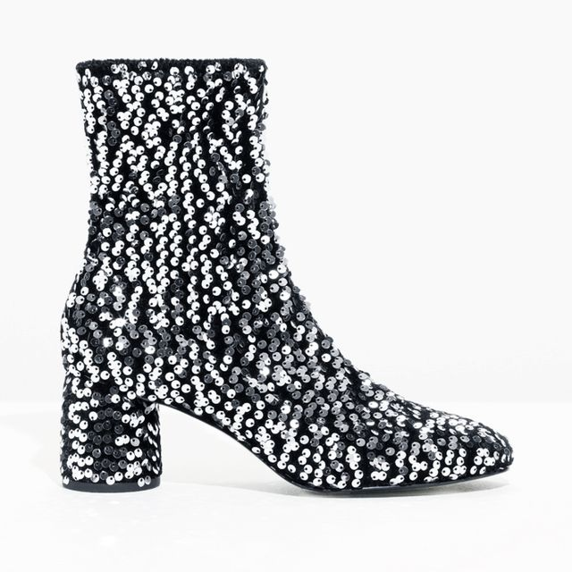 what boots to wear with skinny jeans: & Other Stories Sequin Velvet Boots